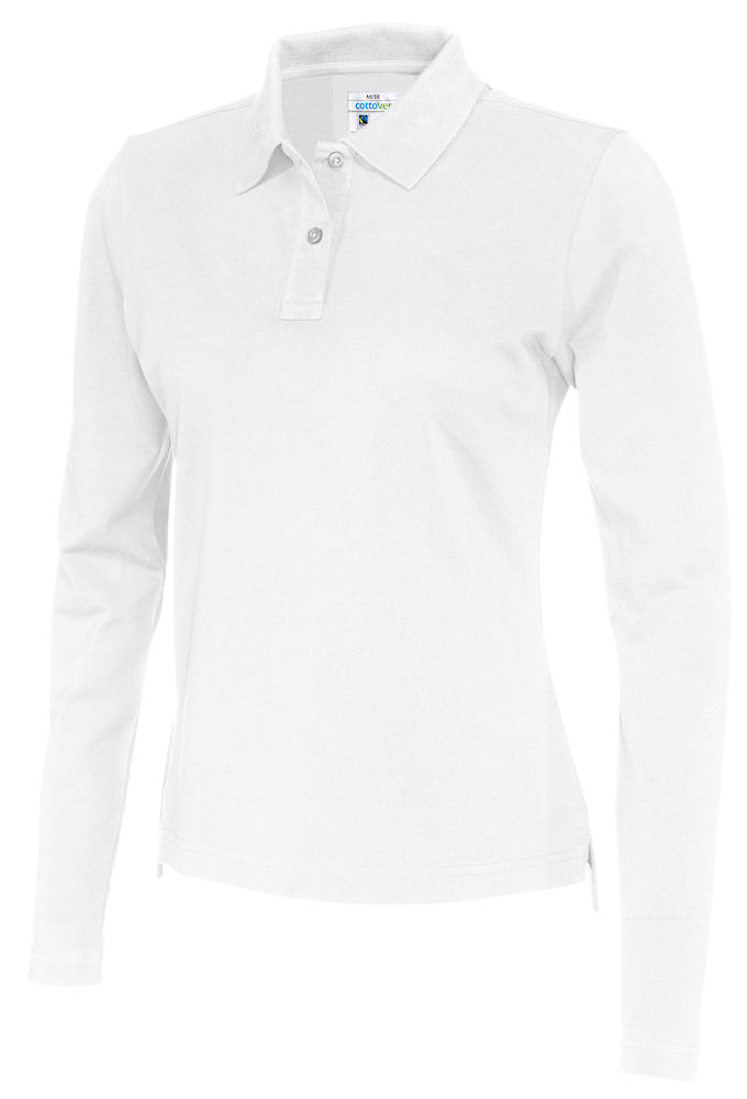 141017 CottoVer Polo Lady lange mouw white
