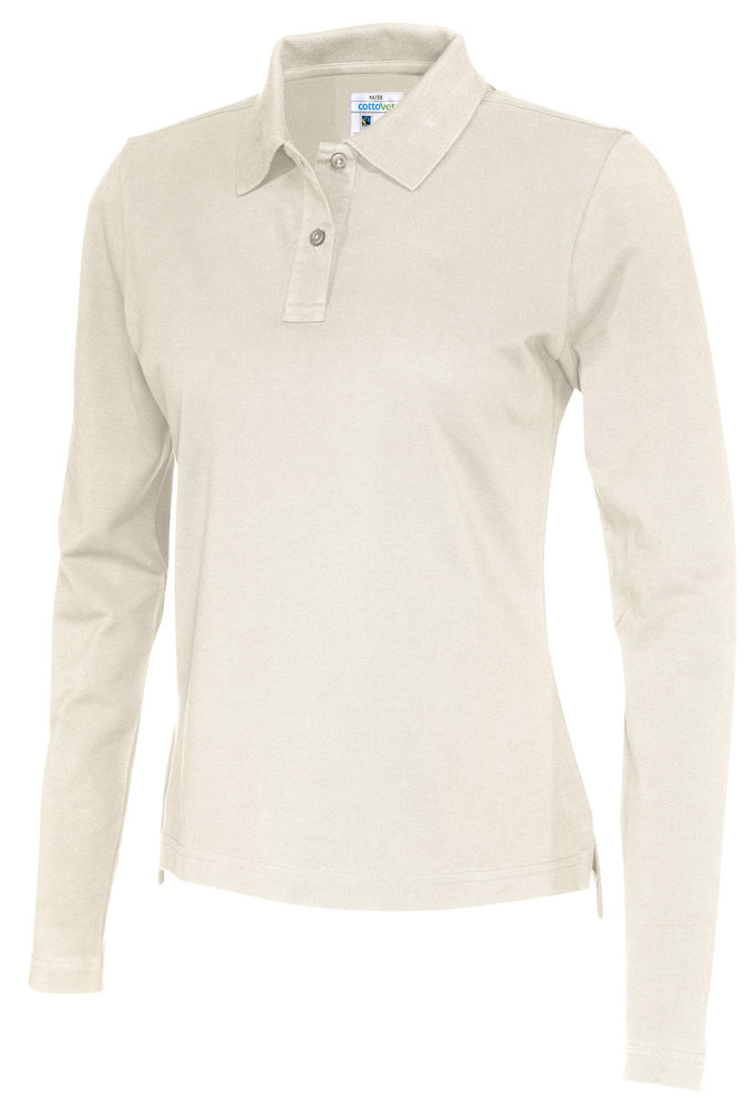 141017 CottoVer Polo Lady lange mouw off white
