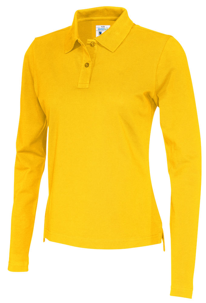 141017 CottoVer Polo Lady lange mouw yellow
