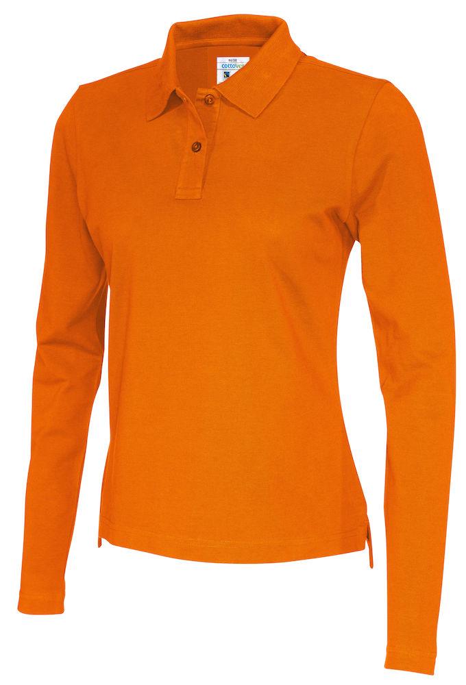 141017 CottoVer Polo Lady lange mouw orange