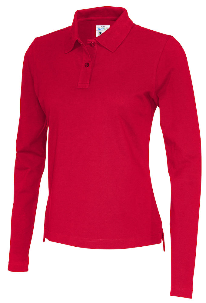 141017 CottoVer Polo Lady lange mouw red