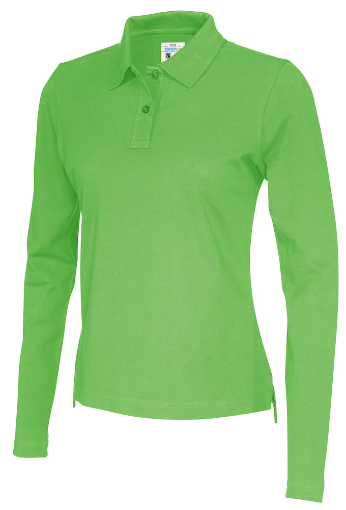 141017 CottoVer Polo Lady lange mouw green