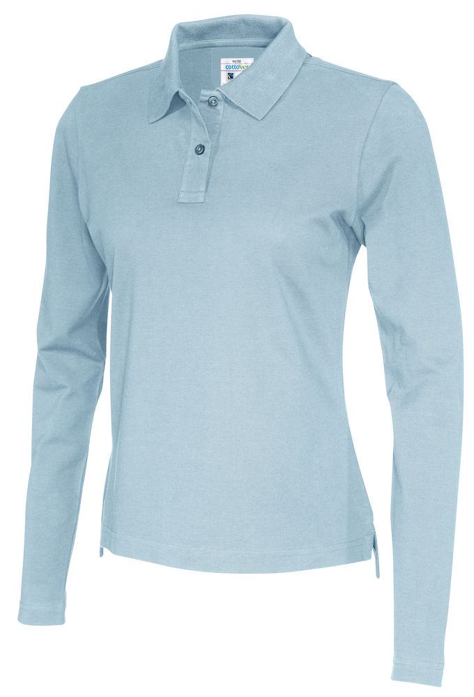 141017 CottoVer Polo Lady lange mouw sky blue