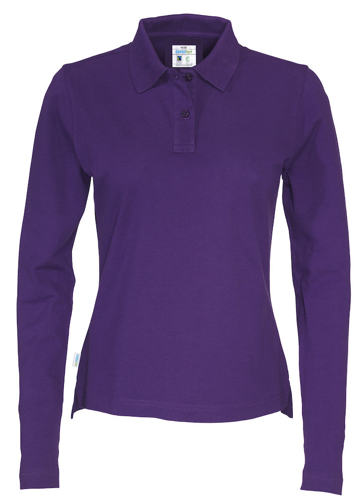141017 CottoVer Polo Lady lange mouw purple