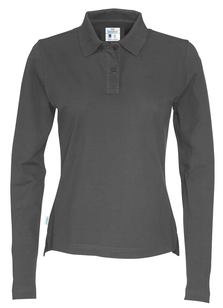 141017 CottoVer Polo Lady lange mouw charcoal