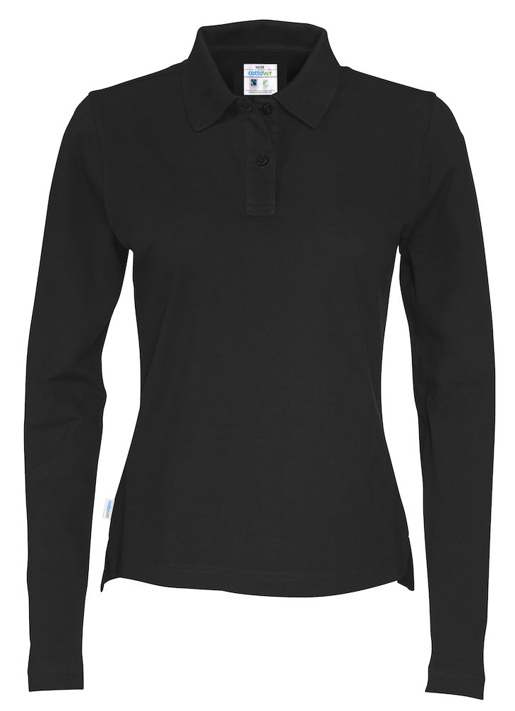 141017 CottoVer Polo Lady lange mouw black