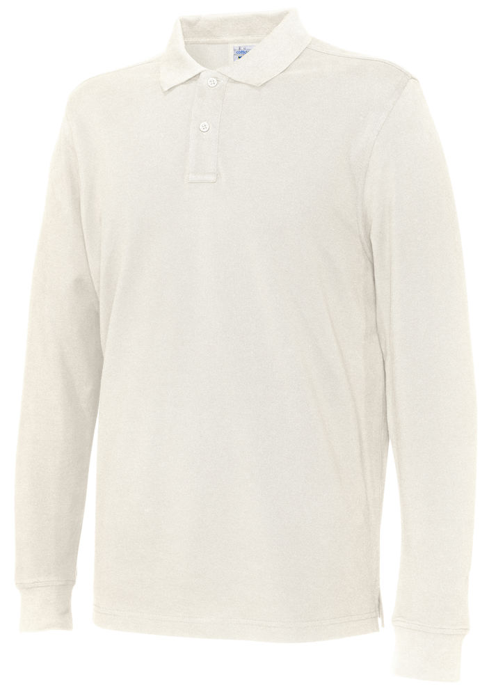 141018 CottoVer Polo Lange Mouw Man off white