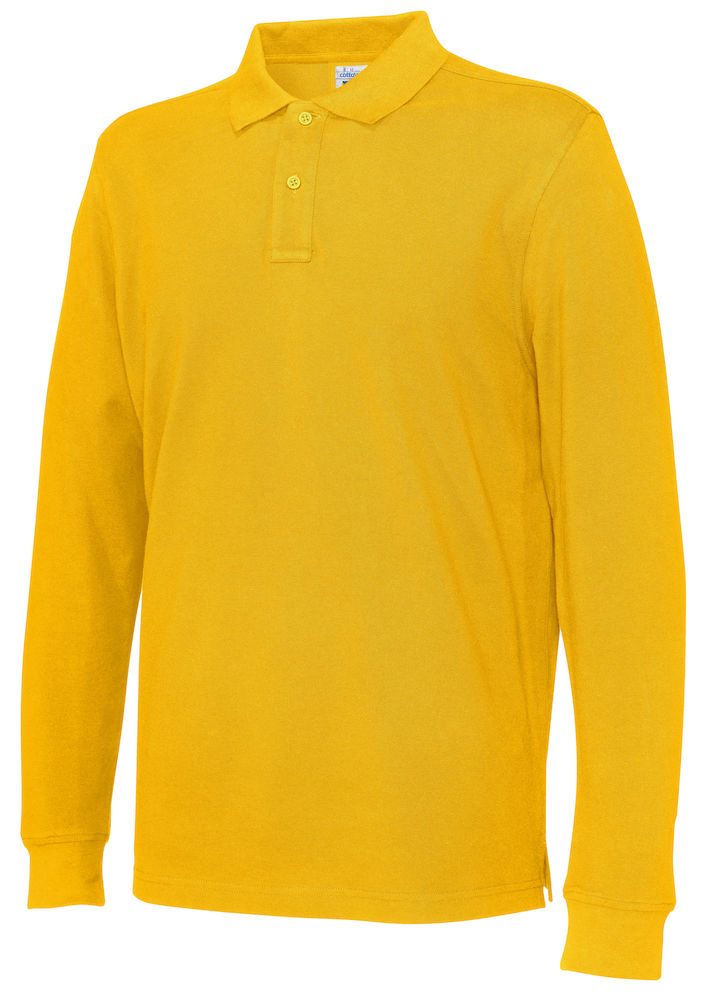 141018 CottoVer Polo Lange Mouw Man yellow