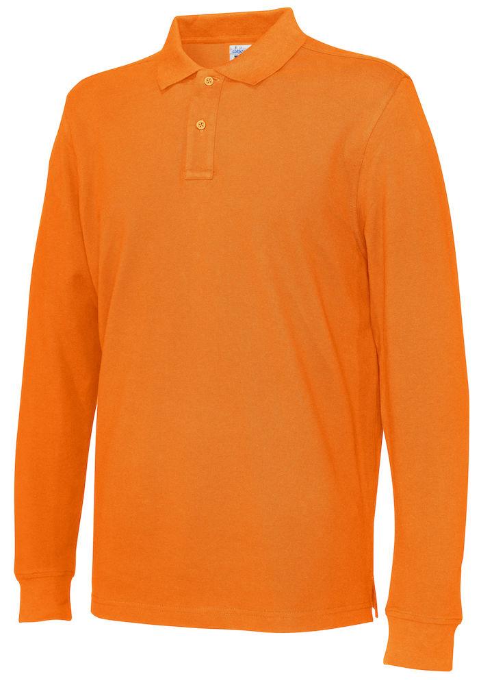 141018 CottoVer Polo Lange Mouw Man orange
