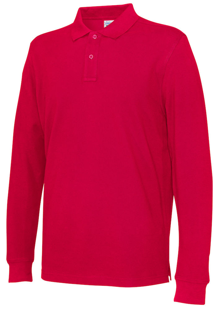 141018 CottoVer Polo Lange Mouw Man red