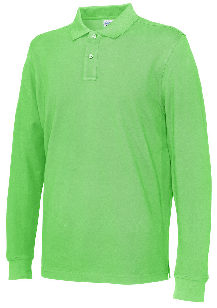 141018 CottoVer Polo Lange Mouw Man green