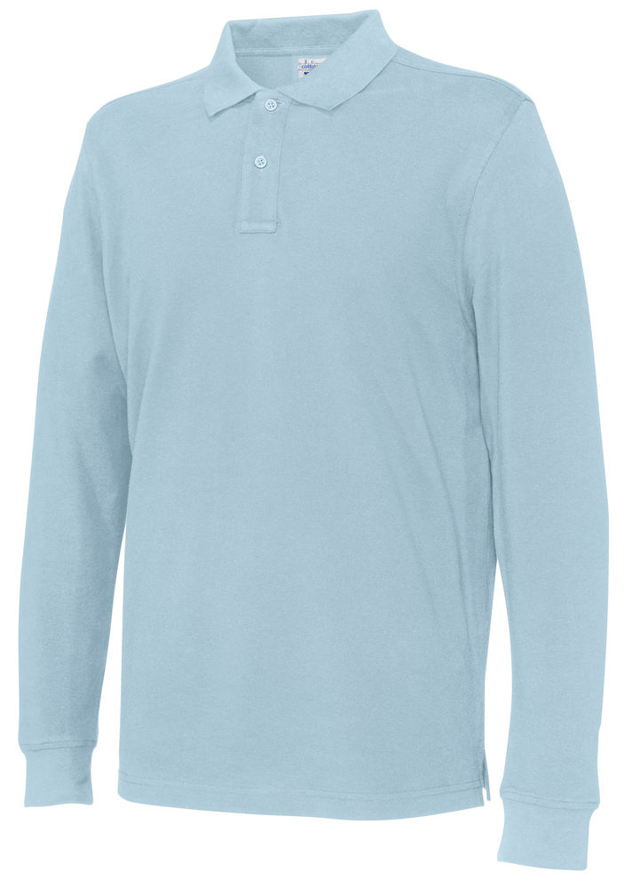 141018 CottoVer Polo Lange Mouw Man sky blue