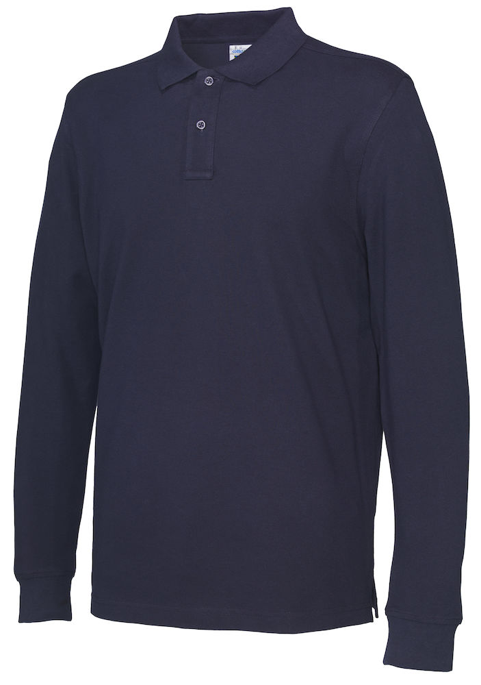 141018 CottoVer Polo Lange Mouw Man navy