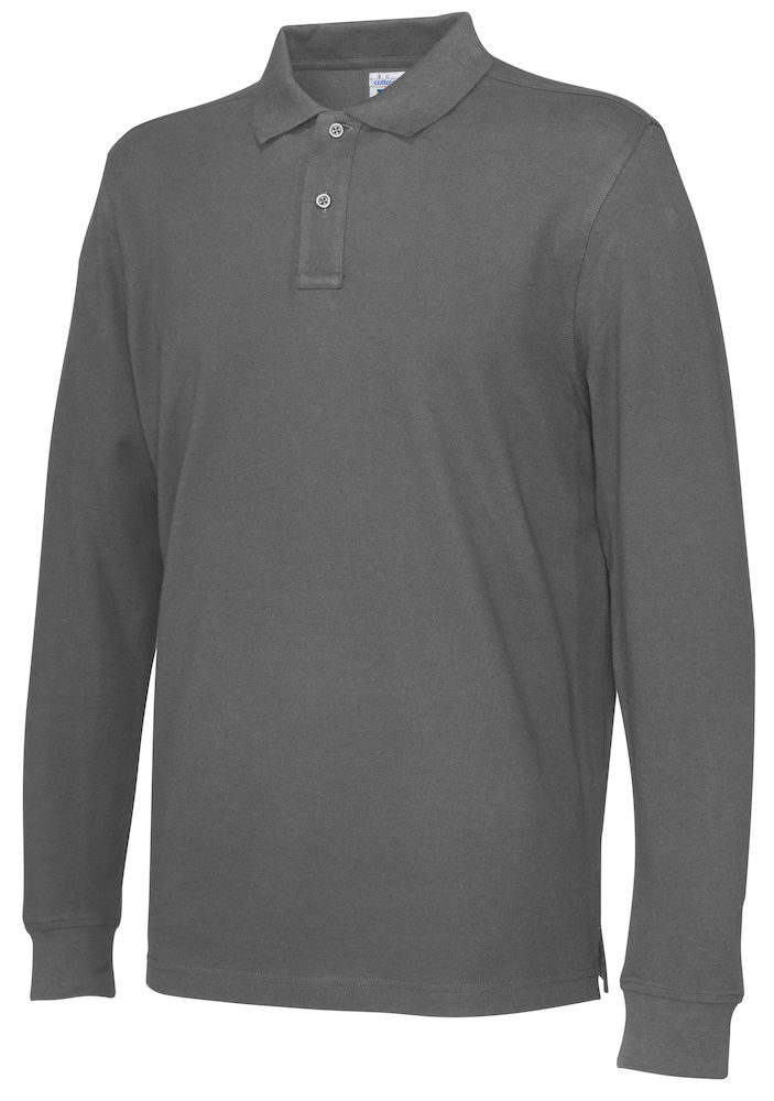 141018 CottoVer Polo Lange Mouw Man charcoal