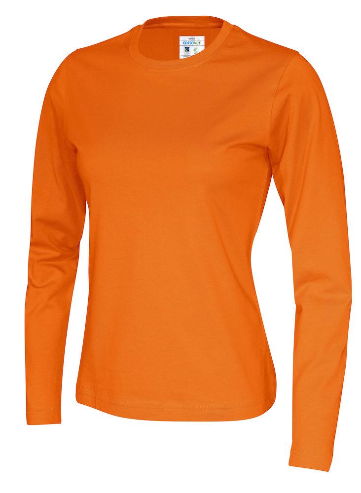 141019 CottoVer T-shirt lady lange mouw orange