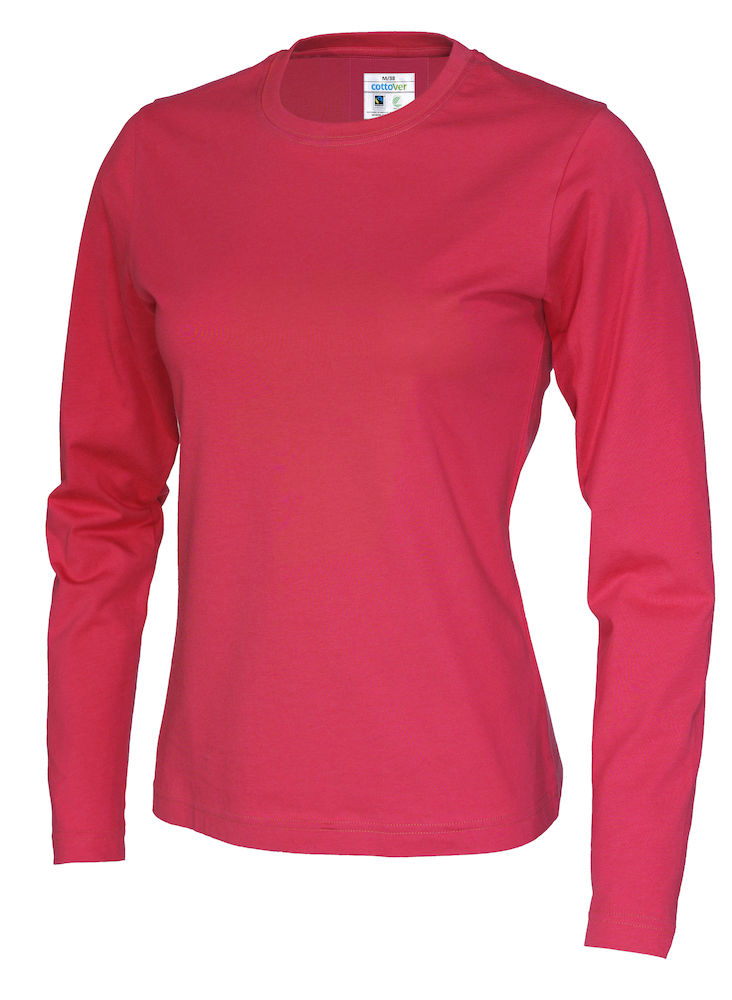 141019 CottoVer T-shirt lady lange mouw red