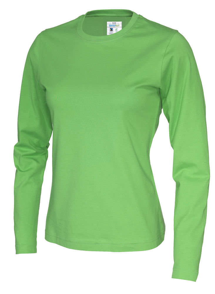141019 CottoVer T-shirt lady lange mouw green