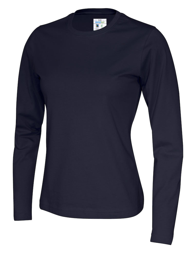 141019 CottoVer T-shirt lady lange mouw navy