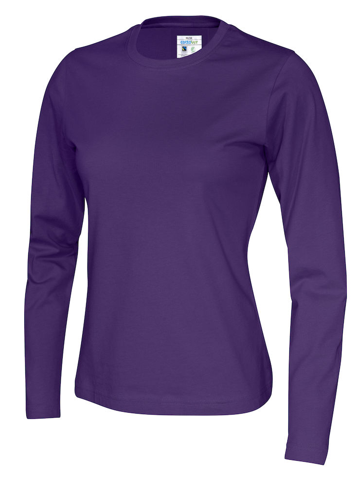141019 CottoVer T-shirt lady lange mouw purple