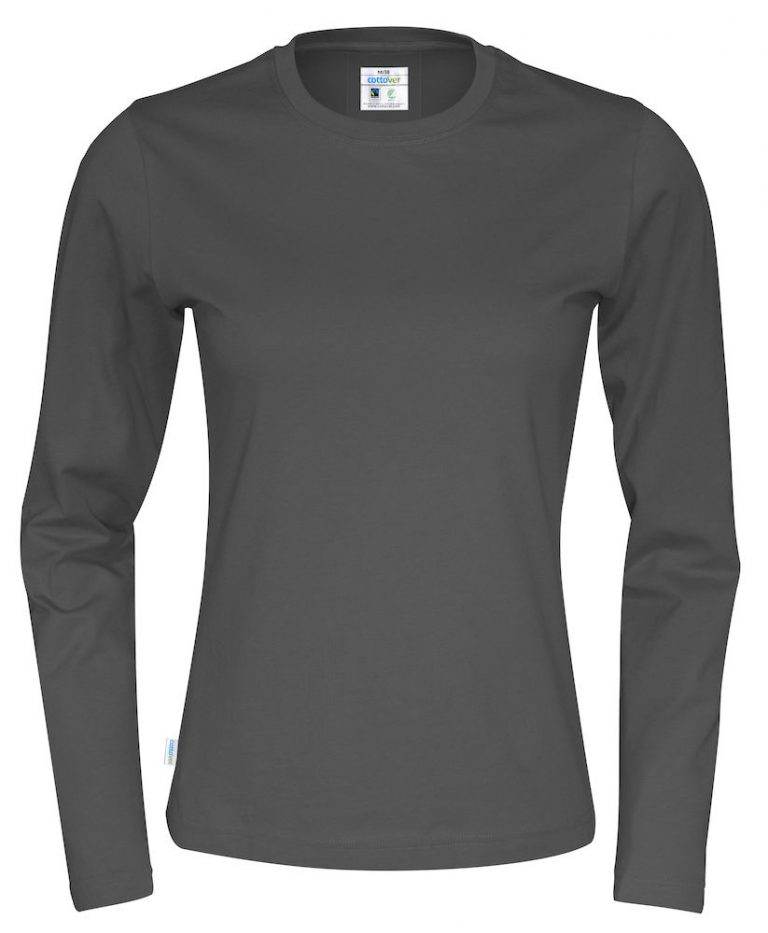 141019 CottoVer T-shirt lady lange mouw charcoal