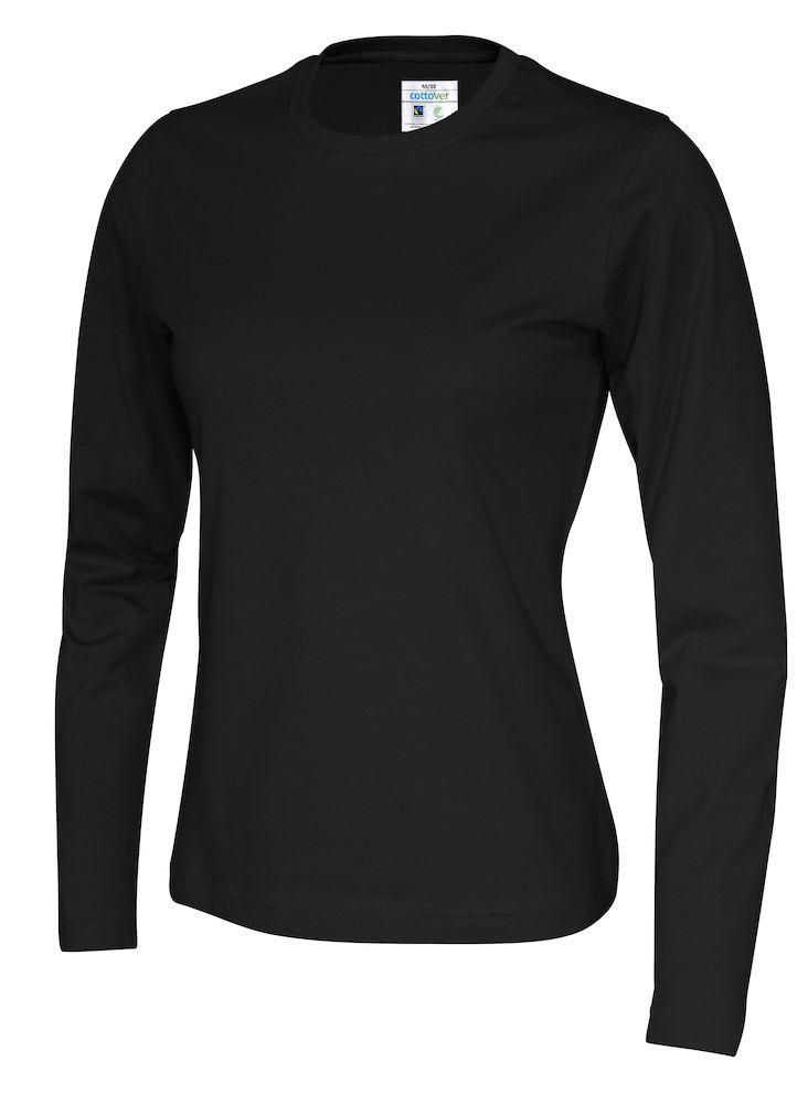 141019 CottoVer T-shirt lady lange mouw black