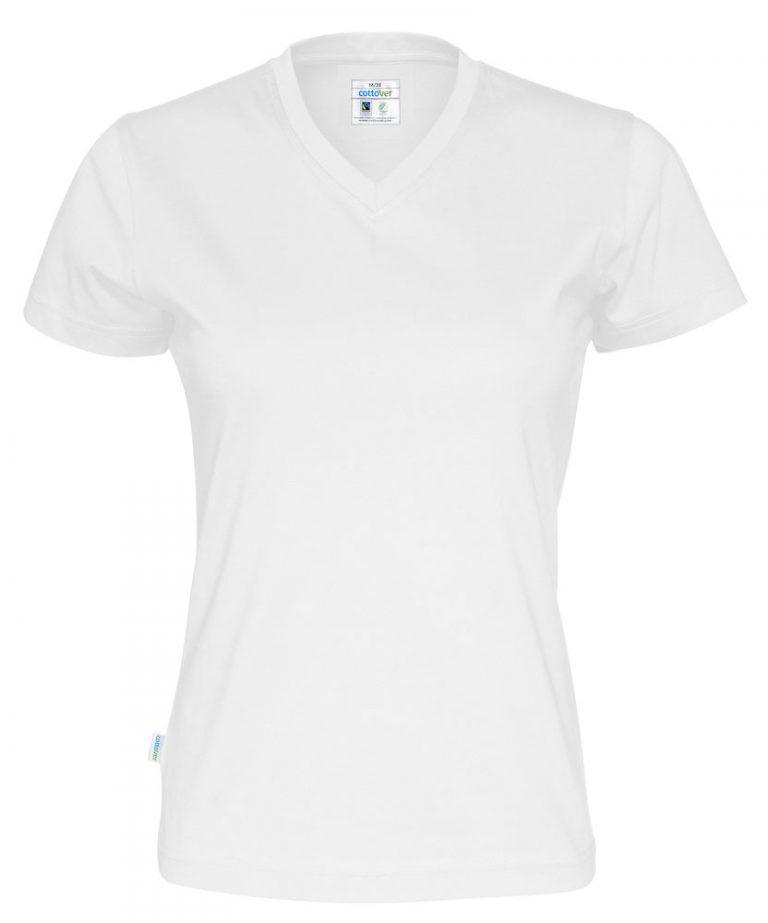 141021 CottoVer T-shirt Lady V-hals white