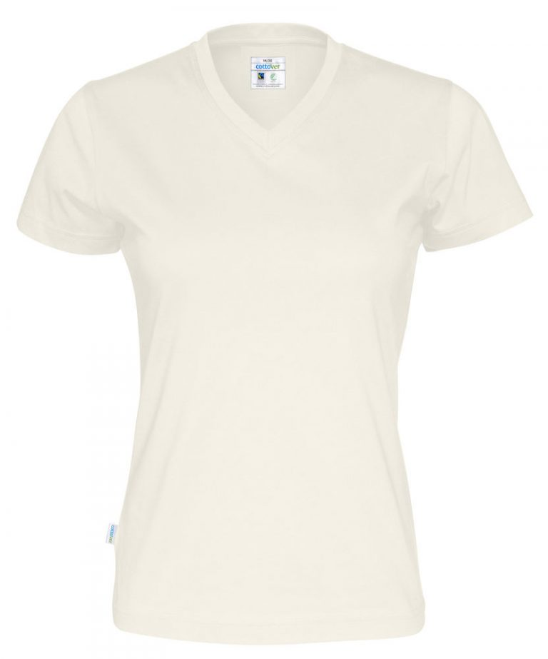 141021 CottoVer T-shirt Lady V-hals off white
