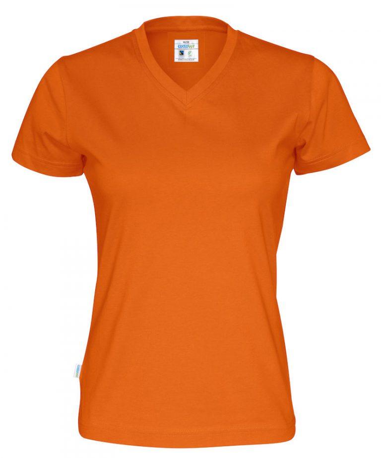 141021 CottoVer T-shirt Lady V-hals orange