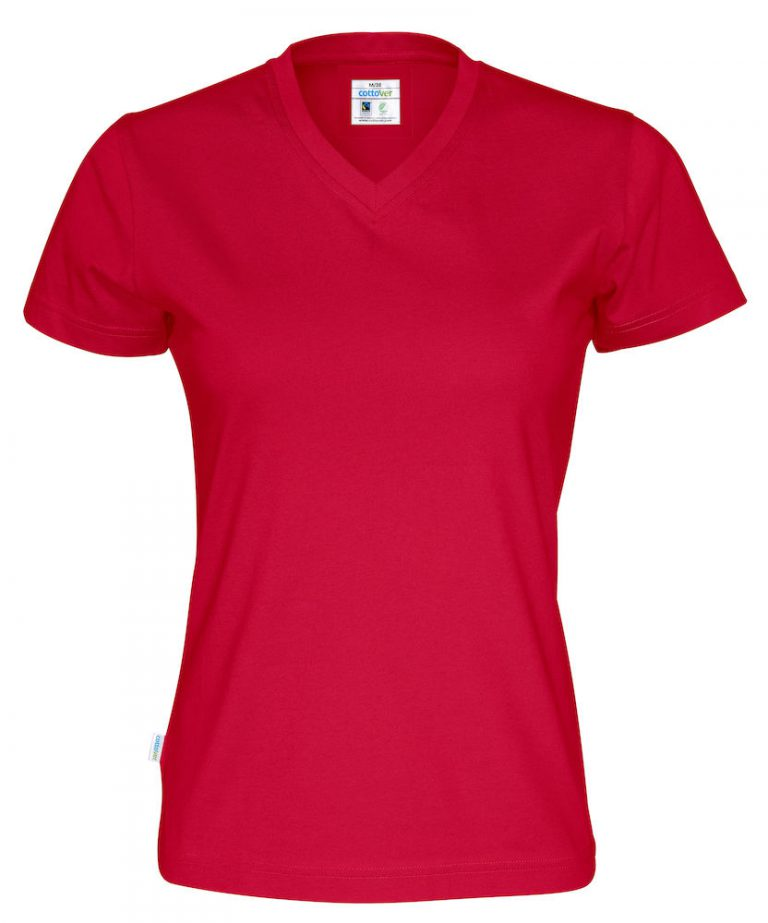141021 CottoVer T-shirt Lady V-hals red