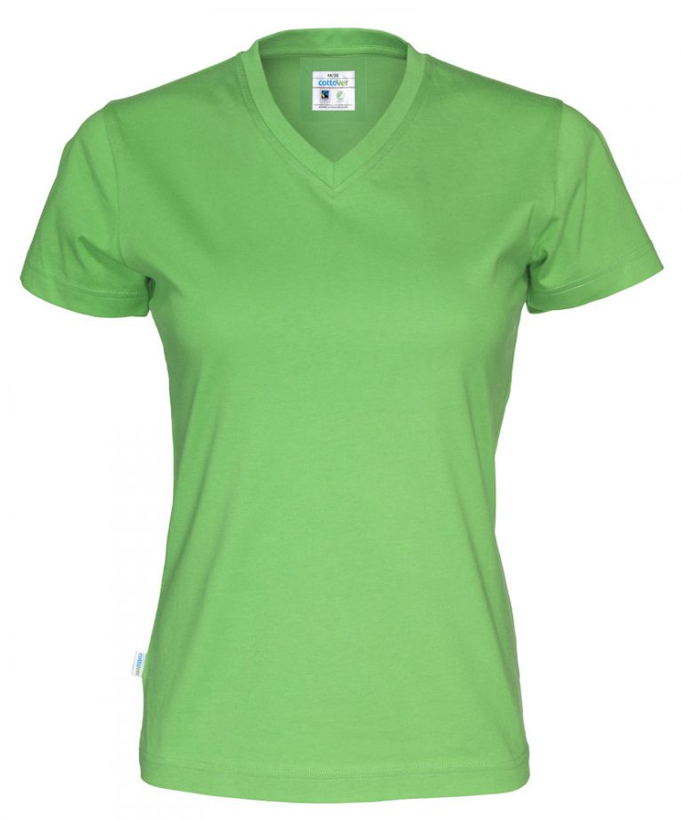 141021 CottoVer T-shirt Lady V-hals green