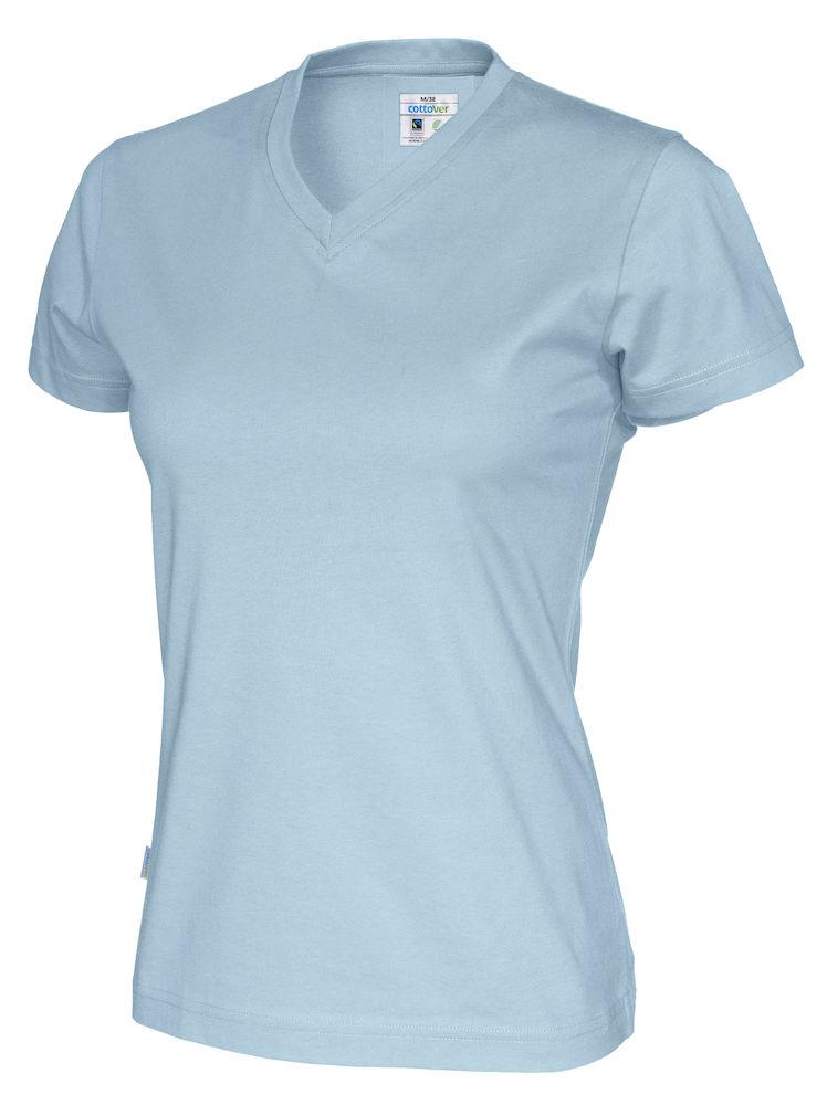 141021 CottoVer T-shirt Lady V-hals sky blue