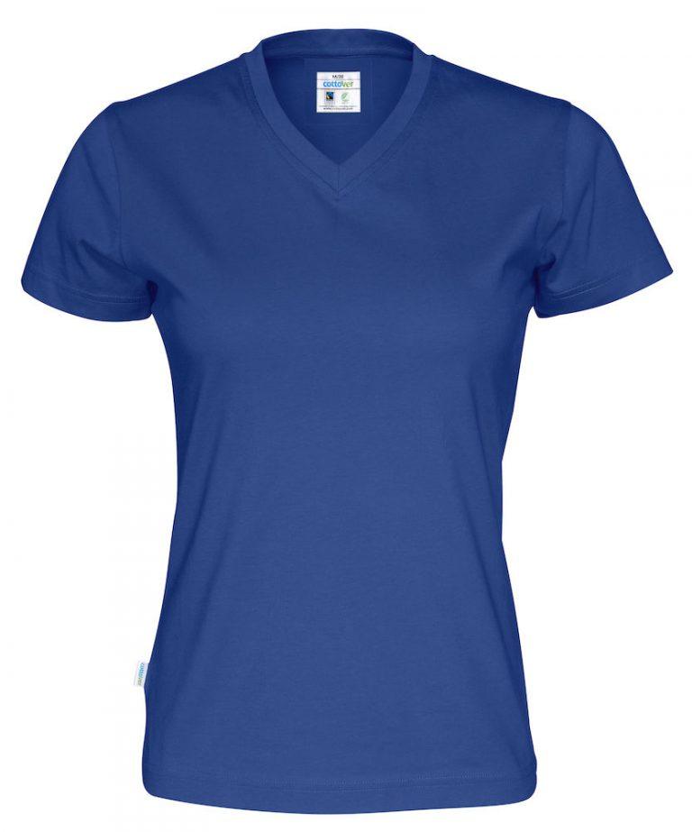 141021 CottoVer T-shirt Lady V-hals royal
