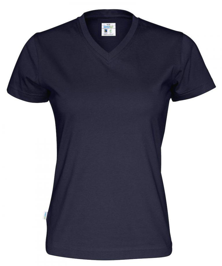 141021 CottoVer T-shirt Lady V-hals navy