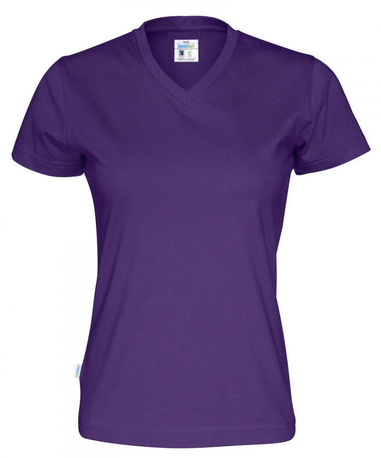 141021 CottoVer T-shirt Lady V-hals purple