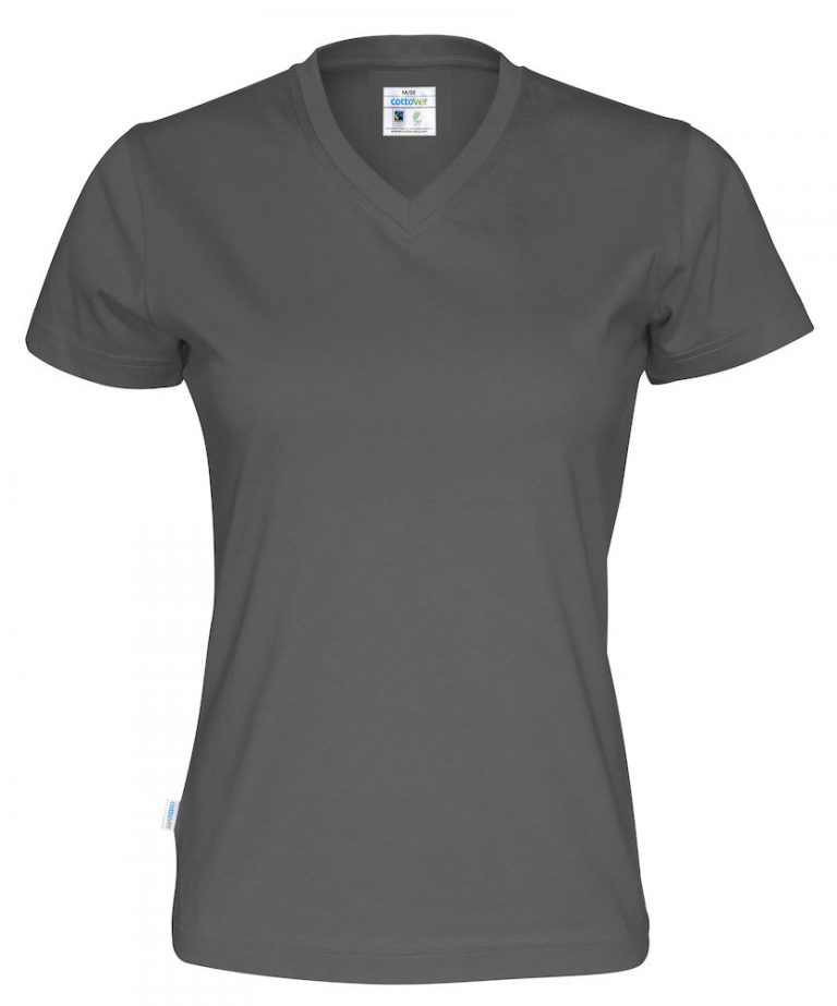 141021 CottoVer T-shirt Lady V-hals charcoal
