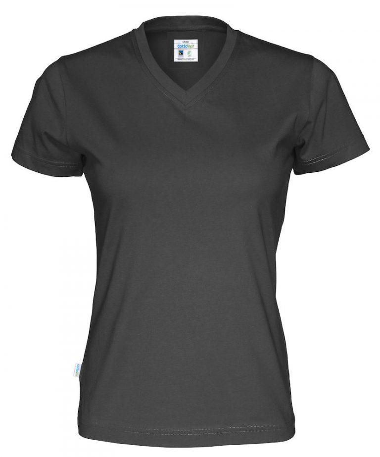 141021 CottoVer T-shirt Lady V-hals black