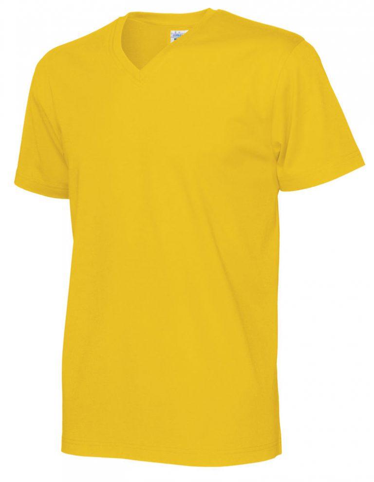141022 CottoVer T-Shirt V-Hals Man yellow