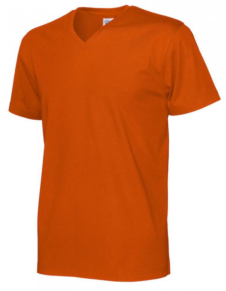 141022 CottoVer T-Shirt V-Hals Man orange