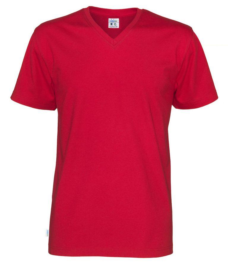 141022 CottoVer T-Shirt V-Hals Man red