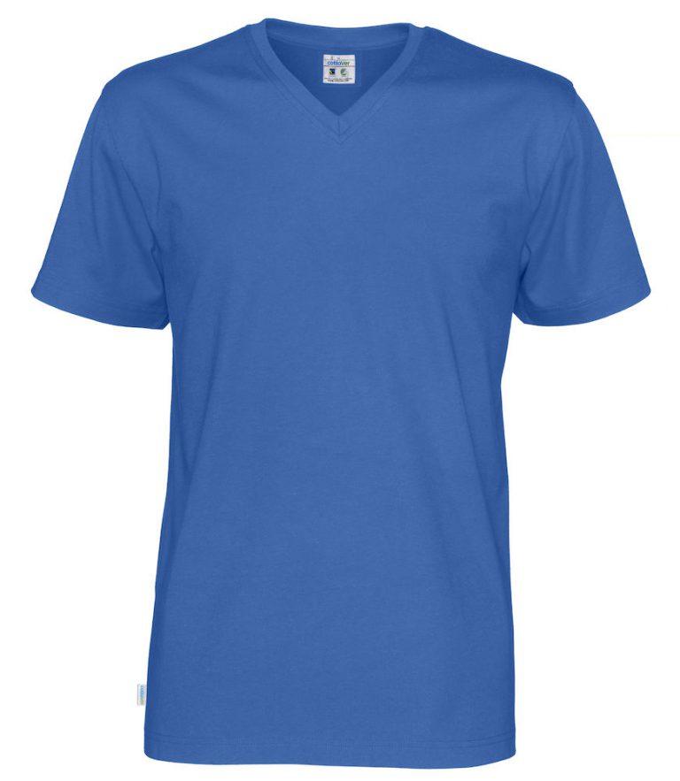 141022 CottoVer T-Shirt V-Hals Man royal