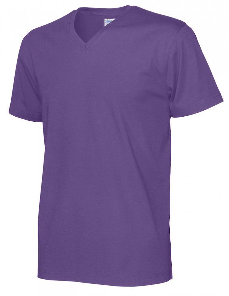 141022 CottoVer T-Shirt V-Hals Man purple