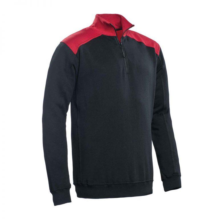 Tokyo Santino Zipsweater 2-Color-Line zwart/ rood