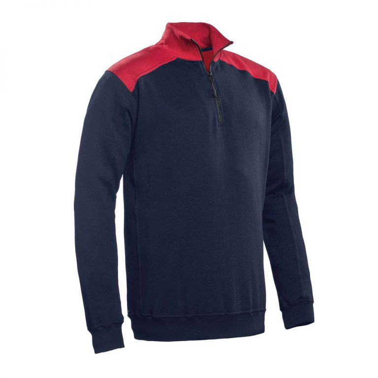 Tokyo Santino Zipsweater 2-Color-Line real navy/ rood