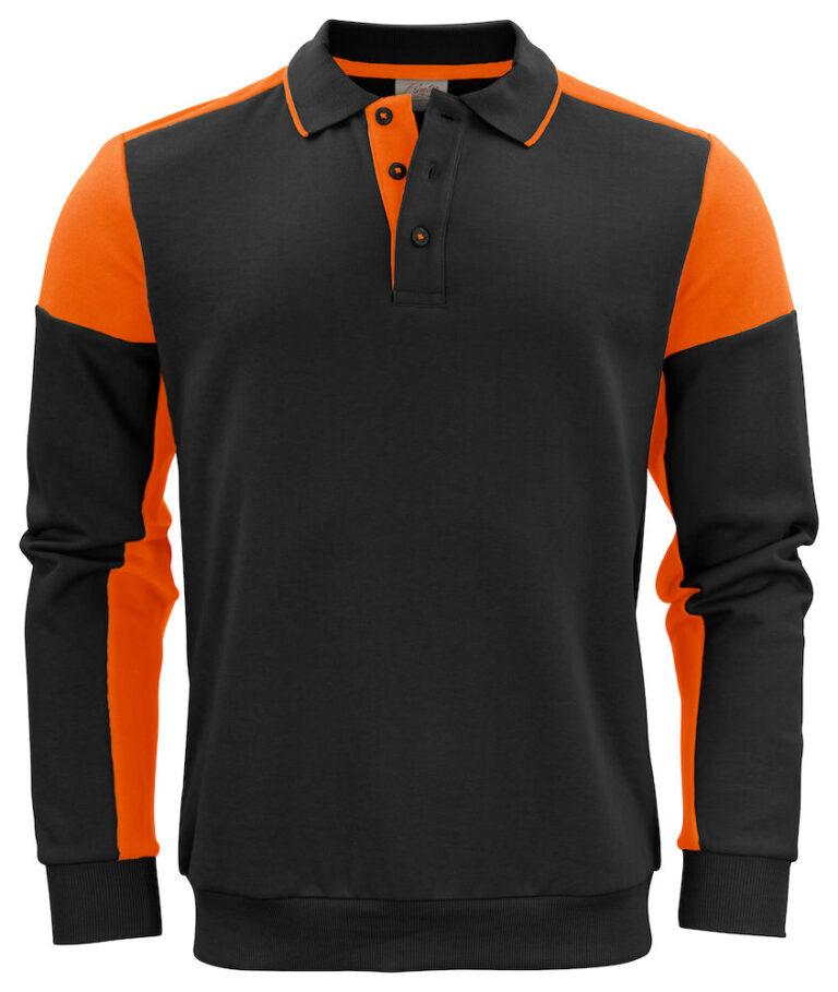2262060 Prime Polosweater zwart/oranje