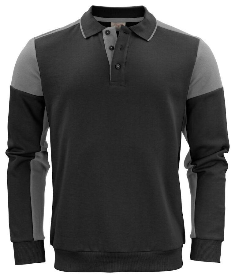 2262060 Prime Polosweater zwart/staalgrijs