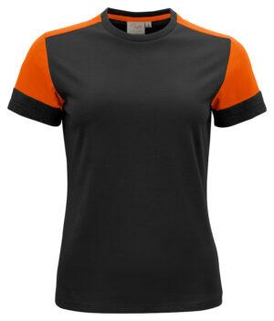2264031 Prime T-shirt Lady zwart/oranje