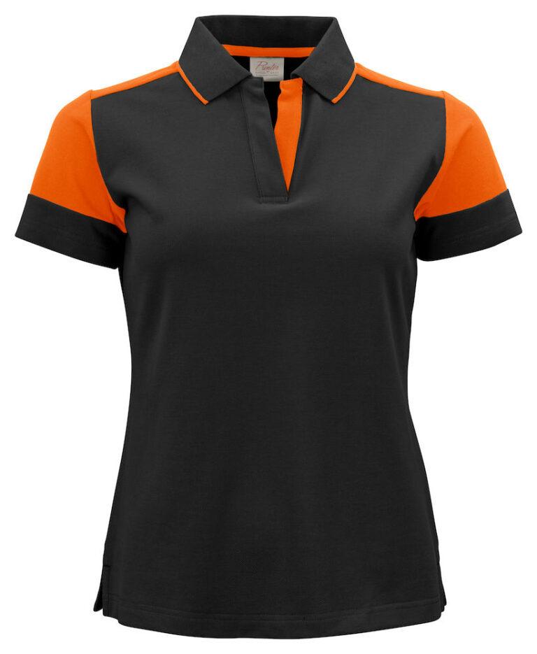 2265025 Prime Polo Lady zwart/oranje