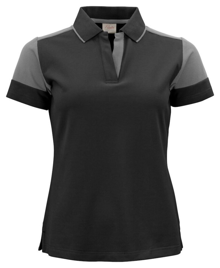 2265025 Prime Polo Lady zwart/staalgrijs
